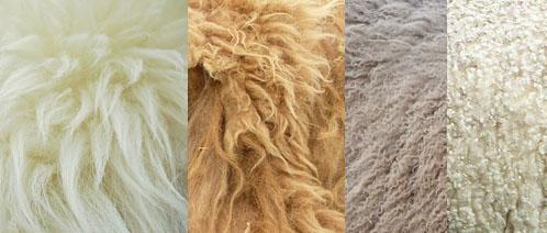 Verschillende soorten wol en natuurhaar